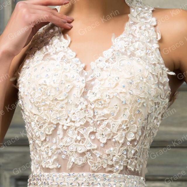 Appliques Brautkleid Hochzeitskleid Abendkleid Ballkleid Gr 34 36 38 40 42 44++