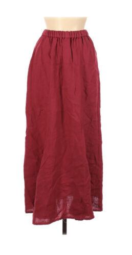 FLAX Long Skirt S Red Linen