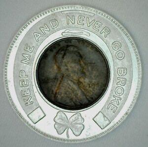 Encased-1945-Wheat-Cent-Advertising-Token-for-Roosevelt-Savings-Bank-Good-Luck