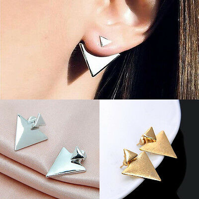 1 Pair Womens Triangle Ear Jackets Stud Earring Fashion Jewelry Punk Style