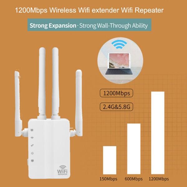 1200mbps Wireless Wifi Repeater Range Booster Signal Dual Band Amplifier+antenna Catalogi Worden Op Verzoek Verzonden