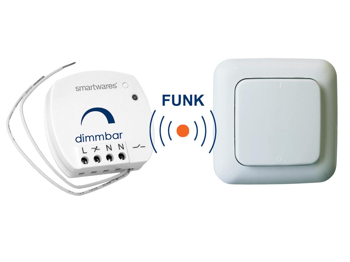 SmartHome Funk Schalter Set  Mini Funk-Einbaudimmer + Funk-Wandschalter 100W    Ruf zuerst