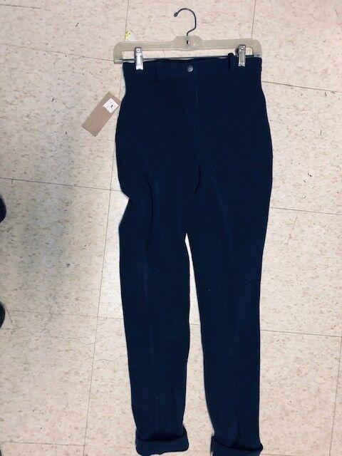 JUST TOGS Front Zip Corduroy JODHPURS Ladies sz 24 NEW bluee w  Knee Patches