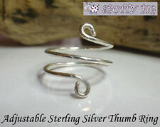 STERLING SILVER .925 Adjustable 3 layer THUMB RING