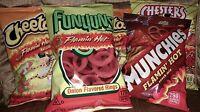 5 Bag Lot Flamin' Hot Variety. Cheetos Crunchy, Munchie, Funyuns, Fries