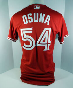 the latest 305e0 b436b Details about 2017 Toronto Blue Jays Roberto Osuna #54 Game Issued Red  Canada Day Jersey