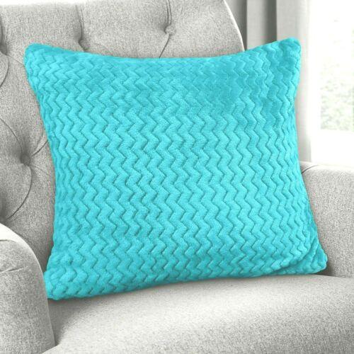 Luxury Chevron Zig Zag Super Soft Velvet Plush Cushion Cover Plain Colours NEW