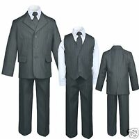 Baby,toddler & Boy Easter Formal Wedding Party Tuxedo Suit Blue Gray S-18,20