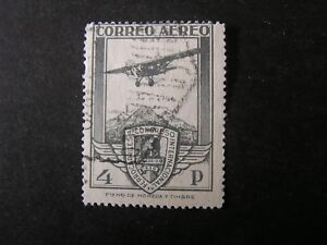 SPAIN-SCOTT-C17-4p-VALUE-1930-PLANE-CONGRESS-SEAL-AIR-POST-ISSUE-USED