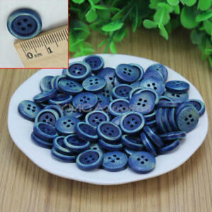 100Pcs-4-Holes-Dark-Blue-Wood-Wooden-Round-Buttons-Sewing-Scrapbooking-15mm-New