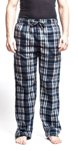 Men/'s Black Flannel Fleece Brush Pajama Sleep /& Lounge Pants Black
