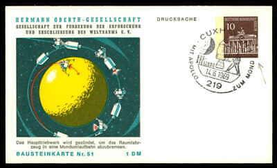 Angemessen Berlin Privat-ga 1969 Weltraum Space Bausteinlarte 51 Hog Hermann Oberth Ep52 Jade Weiß