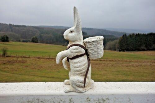 Shabby Hase Kaninchen Haus Garten Deko Figur Antik Weiß Retro Gußeisen 21 cm NEU