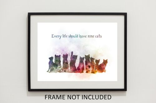 ART PRINT Nine Cats Quote Decor Gift Ideas Wall Art Cat Word Art Animal