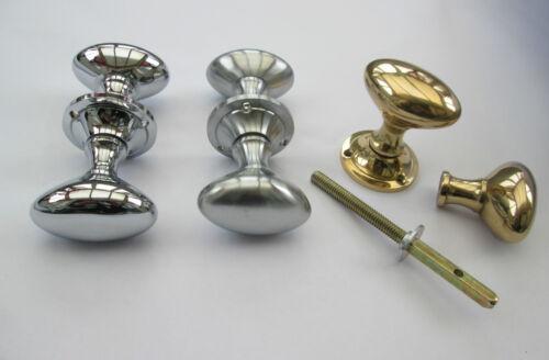 SOLID BRASS Oval Victorian style rim door knobs handle set