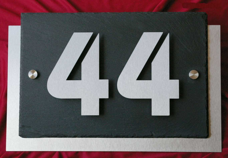 3D Edelstahl Hausnummer Schiefer in Bauhaus Design V2A Hausnummernschild Zahlen