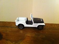 Vintage Unknown Maker Brand Police Jeep Diecast Toy Car White Emergency Vehicle
