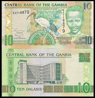 10 Dalasis boy // Central Bank Gambia P26 see UV /& w//m images Sacred Ibis