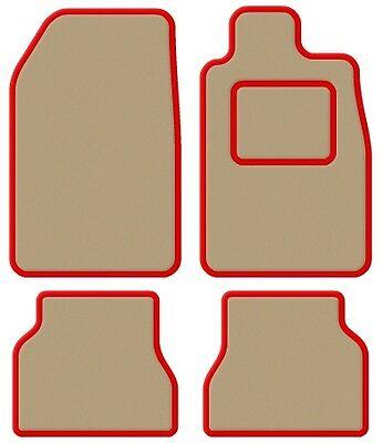 Fashion Style Ford Escort Mk5 90-93 Velluto Beige / Rosso Taglia Car Mat Set- Per Godere Di Alta Reputazione A Casa E All'Estero