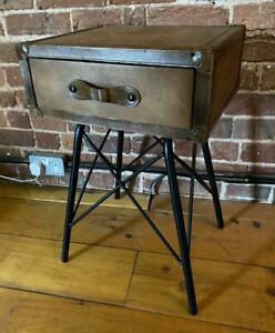 Side-Bedside-End-Table-Genuine-Leather-Black-Iron-Legs-Single-Drawer