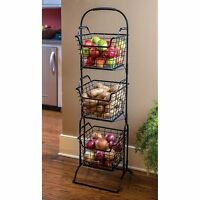 Farmer's Square 3-tier Basket Floor Stand Decorative Storage Basket Organizer