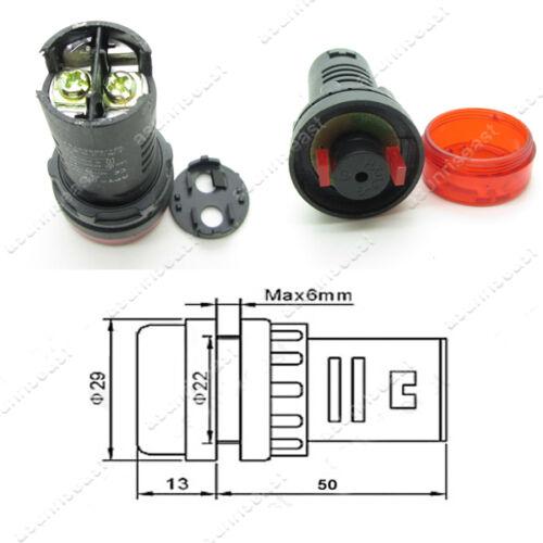 5 x 12 V 22 mm DEL Rouge Flash Indicateur de Réveil Lumière Lampe Avec Buzzer Bip AD16-22SM