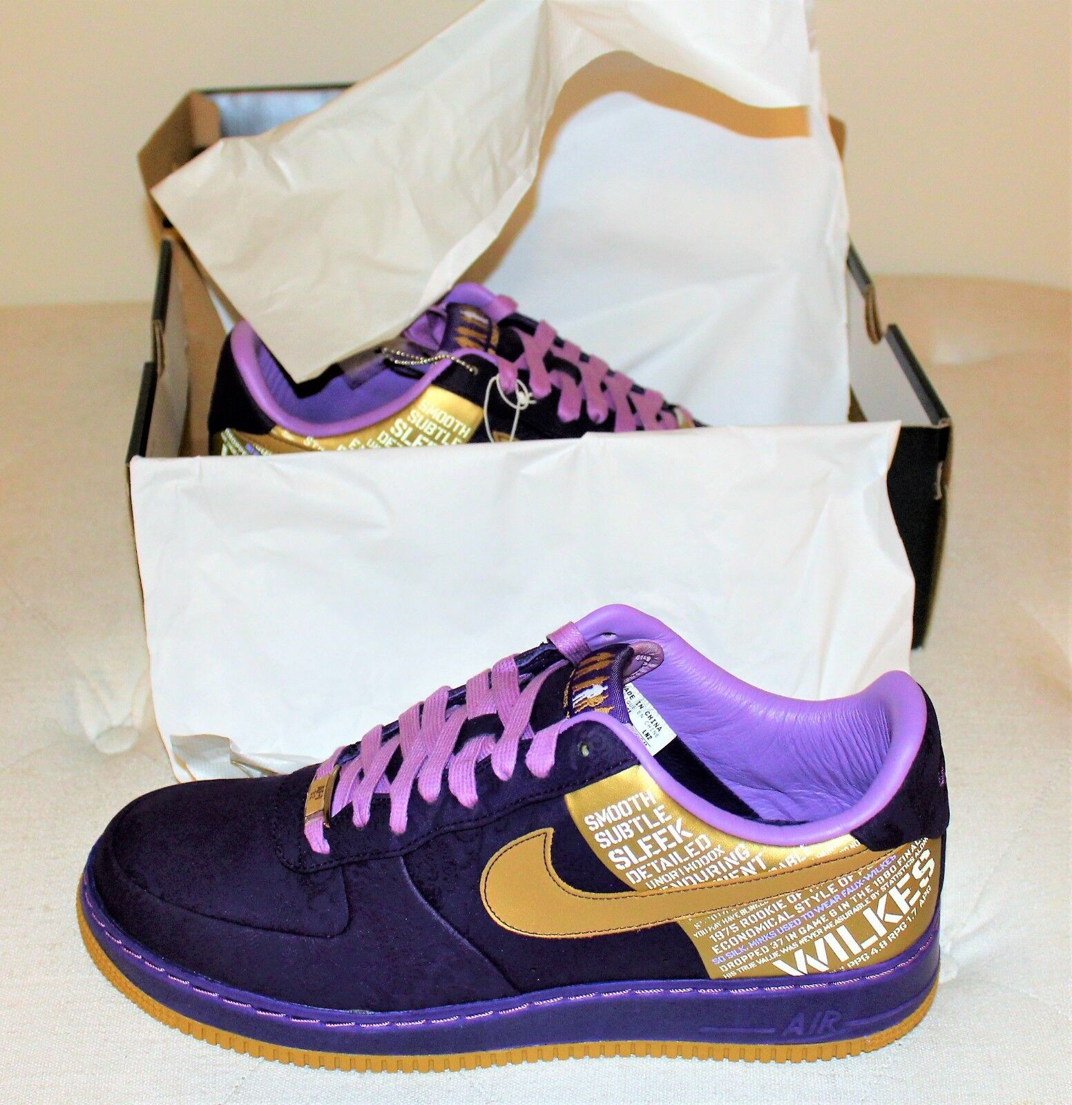 Nike Air Force 1 Supreme 07 Jamaal Wilkes Purple Metallic gold 315088571 S. 11.5