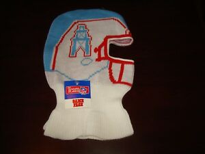 bc62e711e70 vintage 80s NWT HOUSTON OILERS HELMET SKI MASK WINTER HAT BEANIE ...