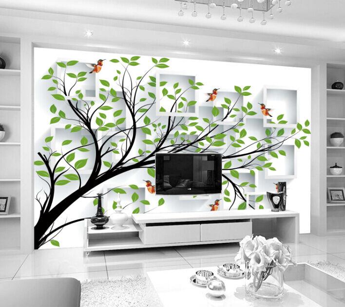 3D Simple Grün Tree Paper Wall Print Decal Wall Wall Murals AJ WALLPAPER GB