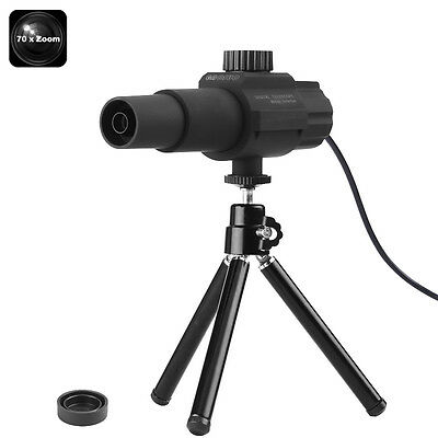 "Portable Digital Telescope 70x Zoom 2MP Camera Motion Detection 2"" View Tripod"