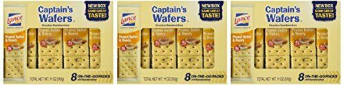 Lance Captain's Wafers Peanut Butter & Honey Wafers 8 Count 11oz Tray Pack of 3