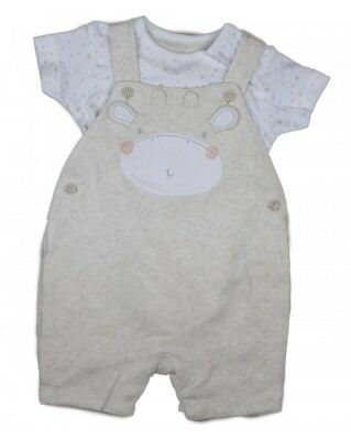 Ex BHS Baby Boys Navy Bear Dungarees /& Stripe Top Outfit Set Age 0 3 6 9 12 Mths