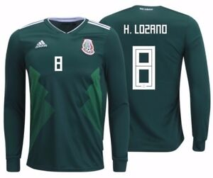 9b8f042a4fa ADIDAS HIRVING LOZANO MEXICO LONG SLEEVE HOME JERSEY WORLD CUP 2018 ...