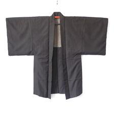 Vintage Japanese Men's Brown Silk Haori Traditional Kimono Jacket One Crest K52