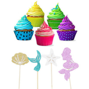 Details about 24 Pieces Mermaid Theme Glitter Cupcake Topper Cake Picks  Decoration For Baby SE