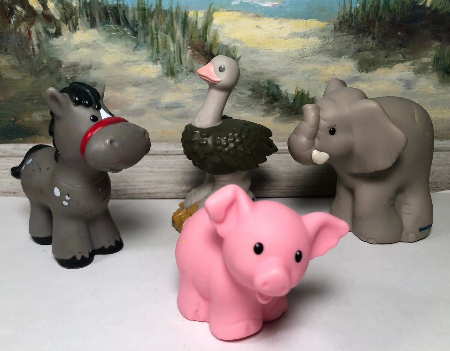 Little People Fisher Price Elephant Ostrich Pig Horse Lot 4 Mattel Pretend Play