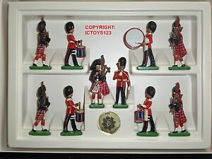 Britains 8305 Écossais Garde Tambour Tambour Bande En Métal Jouet Soldat Figure 10 Pièce Ensemble 50242183054
