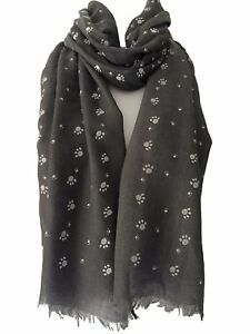 Paw-Print-Scarf-Grey-Ivory-White-Blue-Black-Cat-Dog-Scarves-Cats-Dogs-Paws-Gift