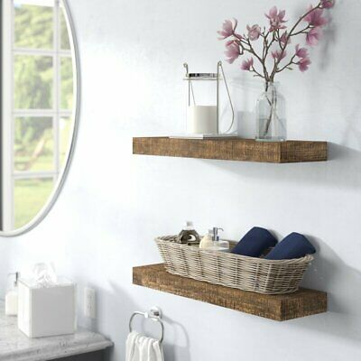 Evonne 2 Piece Solid Wood Pine Floating Shelf Set Of 2 Bath Office Living Bed Ebay