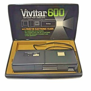 Vintage Vivitar 600 Point N Shoot Pocket Camera with Built In Flash Not Tested
