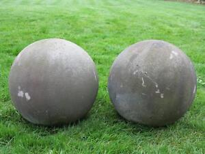 Pair of antique hand carved stone balls entrance finials posts image is loading pair of antique hand carved stone balls entrance workwithnaturefo