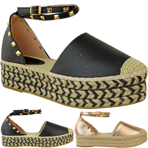Womens Ladies Flat Sandals Studded Ankle Strap Flatforms Rose Gold Shoes Size