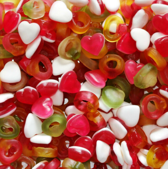 Haribo Heart Throbs Hearts & Rings Sweets Wedding Favours Party Bags 400g to 1KG