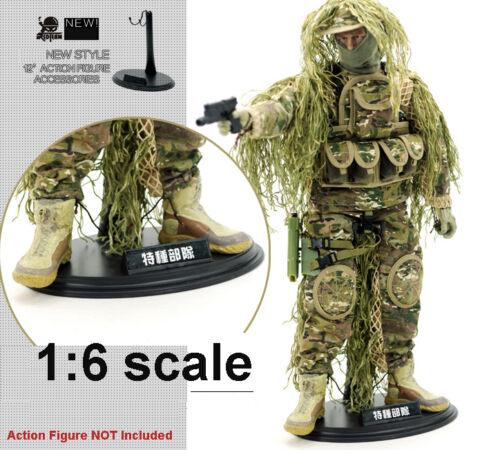 Vendeur 5 x 1//6 Scale Action Figure Toys Stand Avec Nom Plaque deux crochets U.S.A