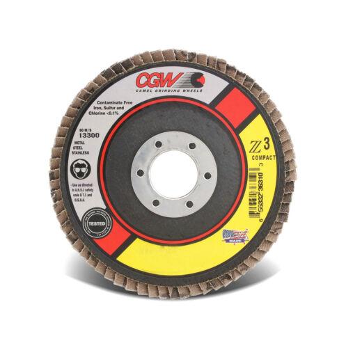 """3pcs 4-1//2/"""" x 5//8-11 Zirconium Z3 80 Grit CGW Double XXL Type 27 Flap Discs USA"""