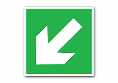 health and safety Fire Exit ArrowDOWN RIGHTGREENSign//Stickers warning