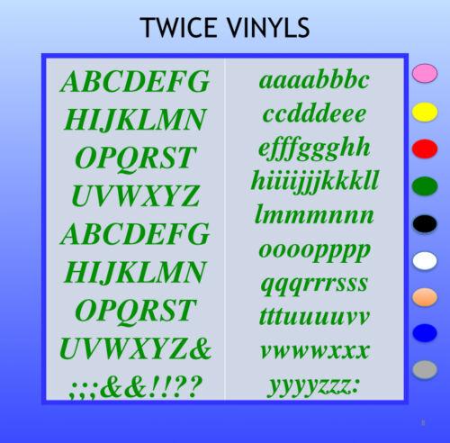 Los tiempos de Gráficos Pegatinas Autoadhesivas cartas 20mm o 25mm de alto Vinilo Alfabeto