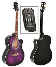 4/4 Elektro Akustik Gitarre Westerngitarre Lila Schwarz mit Pickup Tonabnehmer