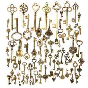 70pc-Antique-Vintage-Old-Look-Bronze-Skeleton-Keys-Fancy-Heart-Bow-Pendant-Decor
