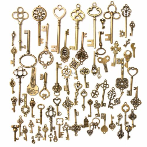 70pc Antique Vintage Old Look Bronze Skeleton Keys Fancy Heart Bow Pendant Decor